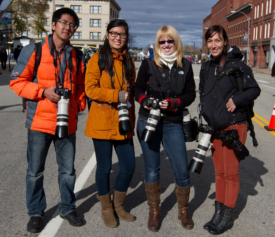 Nov. 4 - Boston University Photojournalism students (from left) Yuan Wang, Connie Liu, Micaela Bedell, and Katherine Taylor attended a rally in Concord, N.H. this Sunday for President Barak Obama.