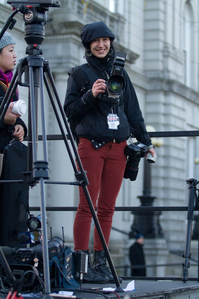 Nov. 4 - Boston University Photojournalism student Katherine Taylor stakes out a position at President Barak Obama's Concord, N.H. rally on Sunday.