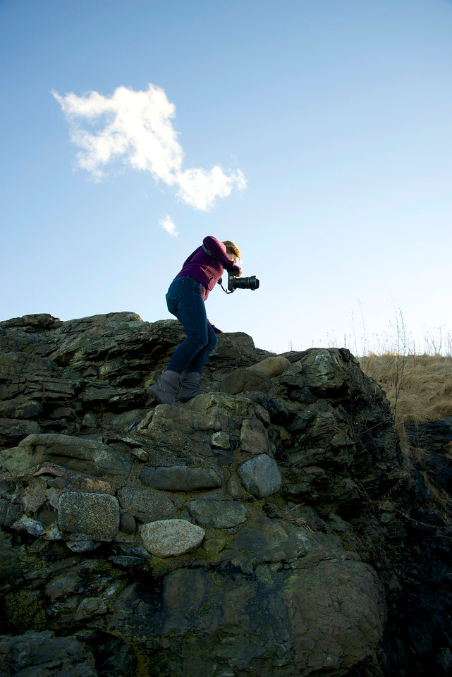 Jan. 31, 2013- Alexa Wagner scales the rocks at Forty Steps beach in Nahant, Mass.