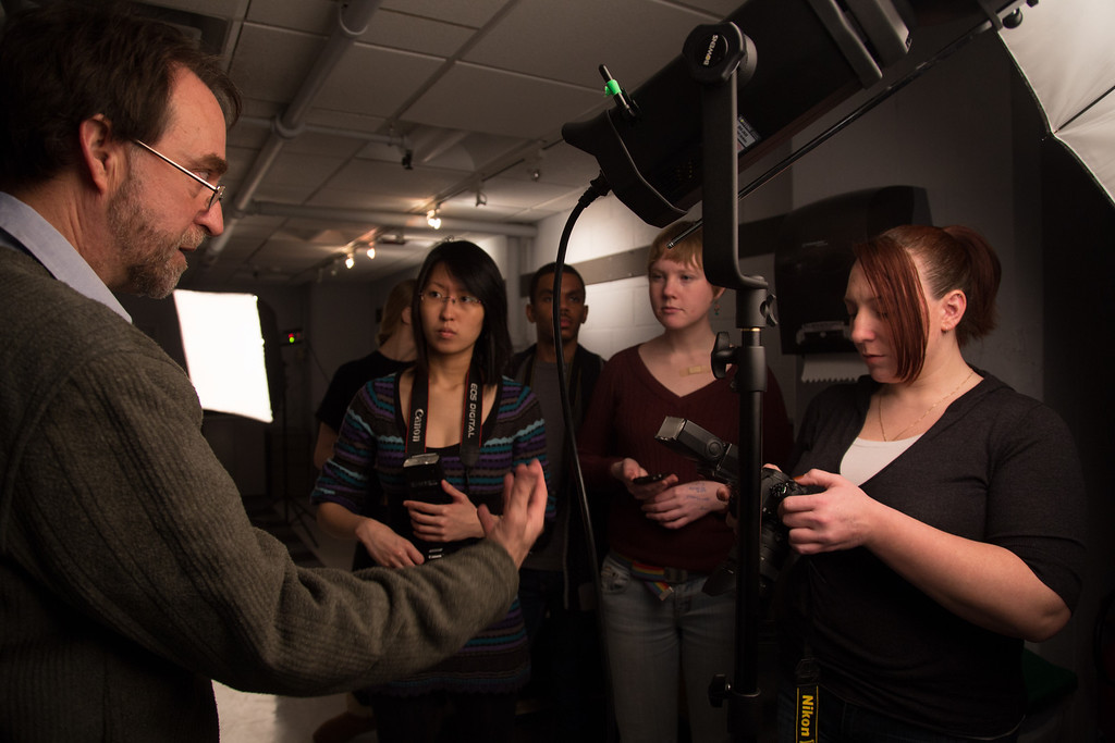 February 13, 2013 - Professor Peter Smith instructs students at Boston University during a lighting workshop. Photo by Alexa Gonzalez Wagner.