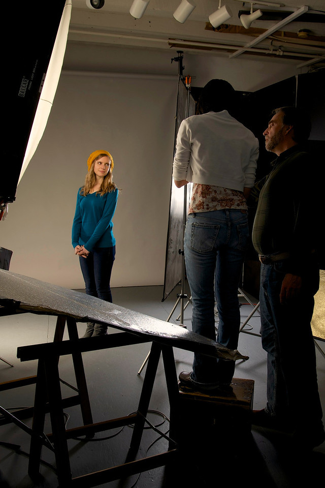 Feb. 6, 2013- Smith takes his JO537 class to the studio to work on lighting techniques.<br /> Photo by: Jasmin Bleu Pellegrino