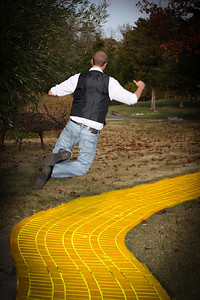 streets of gold or yellow brick road.....he's happy to be there either way...