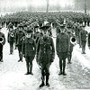 During the first World War, the entire campus was in uniform.  Here students drill on the Great Lawn in the winter of 1917-18.