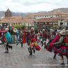 Local dancers perform as part of a festival at the central plaza in Cusco.