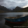 A lonely dinghy in the highland Lake Querococha at over 13,000 feet in elevation