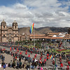 Crowds gather in Cusco during one of the many processions held during the month of June.