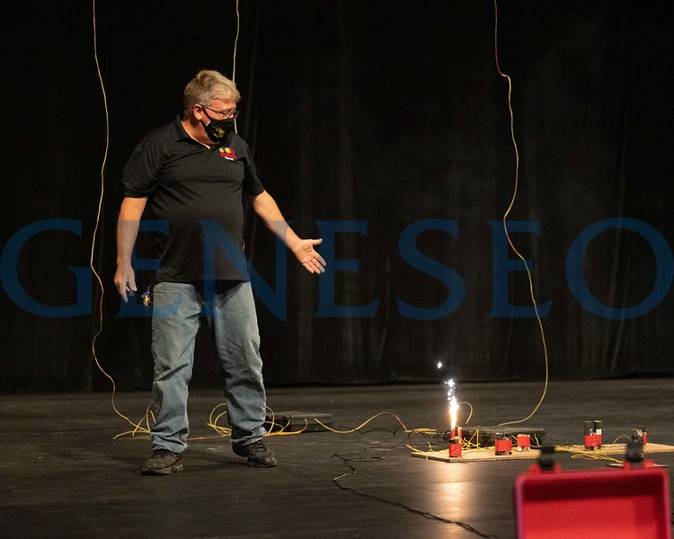 Bill Kirsop of Skylighters Fireworks leads a pyrotechnic safety demonstration for theatre students and weeks of welcome.