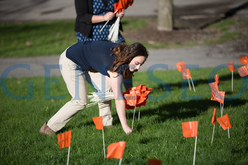 sexual assault awareness month flag planting