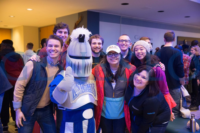 Transfer students gather in the college union lobby for the annual Friday Knight Tailgate event to kick off the Spring Semester.