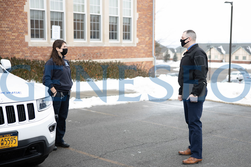 Kaylee Hausrath '21 chats with chief of university police, Christopher Prusak
