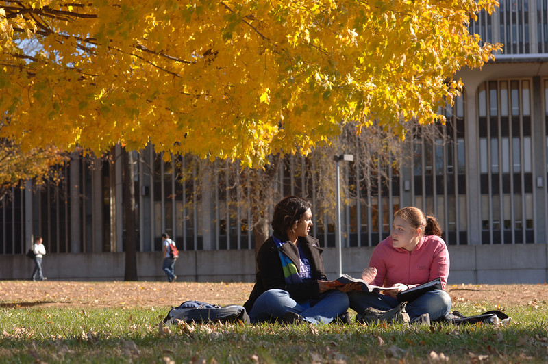 Students enjoy the fall weather playing sports or studying outside.