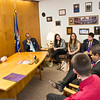 February 2013 - Students advocate for the university by meeting with lawmakers such as State Senator Hugh T. Farley at the state capitol during the annual UAlbany Day event.<br /> Photographer: Mark Schmidt