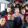 March 2013 - The women's basketball team, led by Head Coach Katie Abrahamson-Henderson, is all smiles en route to their second consecutive NCAA Tournament against No.3 seed North Carolina.<br /> Photographer: Mark Schmidt