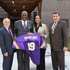 September 2012 - Dr. Robert J. Jones is appointed 19th president of the University at Albany. Pictured with David Lavallee, Executive Vice Chancellor for Academic Affairs & Provost-SUNY, Dr. Lynn Hassan Jones, M.D., and 18th President of the University at Albany George M. Philip.<br /> Photographer: Paul Miller