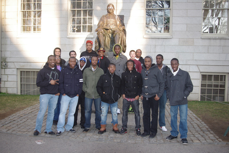 At Harvard University, touring the grounds and the buildings along the Cambridge campus.
