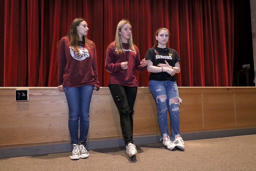 . Three students from Stoneman Douglas High School in Parkland, Florida visited Fitchburg High School to talk to a select few students about what they went through on February 14, 2018 on Wednesday morning. From left is SDHS juniors Ma\'ayan Mizrahi, Madison Leal and Rebecca Schneid. SENTINEL & ENTERPRISE/JOHN LOVE