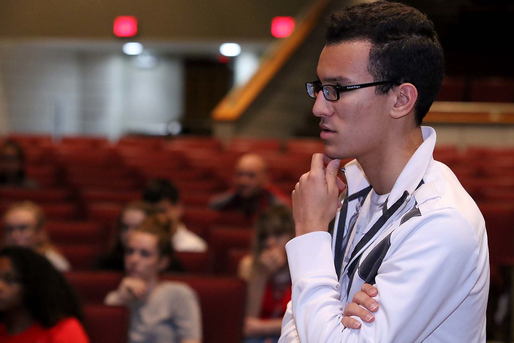. Three students from Stoneman Douglas High School in Parkland, Florida visited Fitchburg High School to talk to a select few students about what they went through on February 14, 2018 on Wednesday morning. FHS junior Josiah Begor ask a question of the students from SDHS. SENTINEL & ENTERPRISE/JOHN LOVE