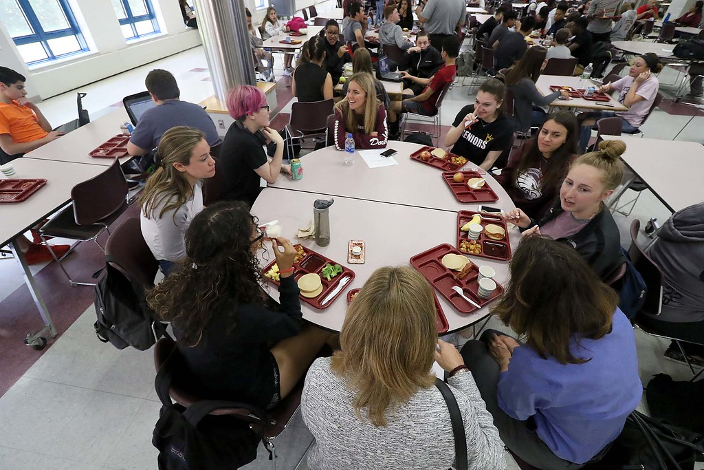 . Three students from Stoneman Douglas High School in Parkland, Florida visited Fitchburg High School to talk to a select few students about what they went through on February 14, 2018 on Wednesday morning. The SDHS students had lunch at FHS after their talk. SENTINEL & ENTERPRISE/JOHN LOVE