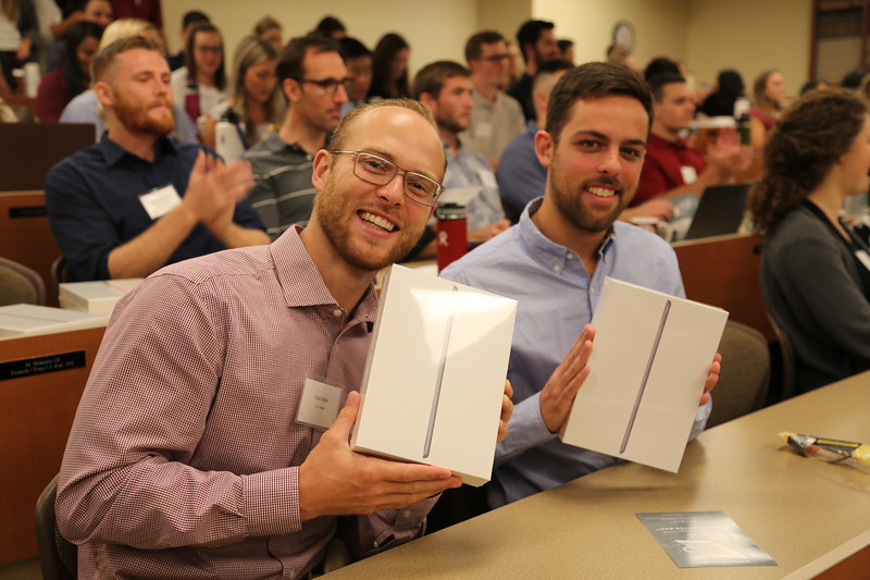 First-year WesternU COMP-Northwest students are gifted new iPads Tuesday, July 30, 2019, becoming the first class to be part of the Digital Doctor Bag iPad project. The specially programmed iPads are provided by gifts from the Heatherington Foundation for Innovation and Education in Health Care and an anonymous donor. (Michelle Steinhebel, WesternU)