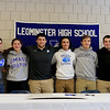 Leominster High School held a signing day for six of it's student athletes that will going on to higher education and playing their prospective sports. From left is LHS Principal Dr. Steve Dubzinski, Jarrod Fournier who will be playing soccer at Central Connecticut State, Maria Spylios who will be playing soccer at UMass Boston, Zach Khallady who will be playing Football at Assumption College, dylan Sousa who wil be playing baseball at Wheaton College, Adam Couch who will be playing football at Assumption College Connor Marchand who will be playing football at Wesleyan University and LHS Athletic Director Dave Palazzi.  SENTINEL & ENTERPRISE/JOHN LOVE