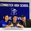Leominster High School held a signing day for six of it's student athletes that will going on to higher education and playing their prospective sports. With Jarrod Fournier, who will be playing soccer at Central Connecticut State, is his mom Candace Fournier and dad Michael Fournier. SENTINEL & ENTERPRISE/JOHN LOVE