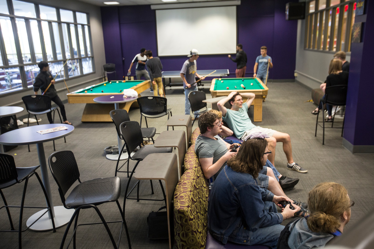 Student Game Room is in the center of the GUC, a student oriented location.