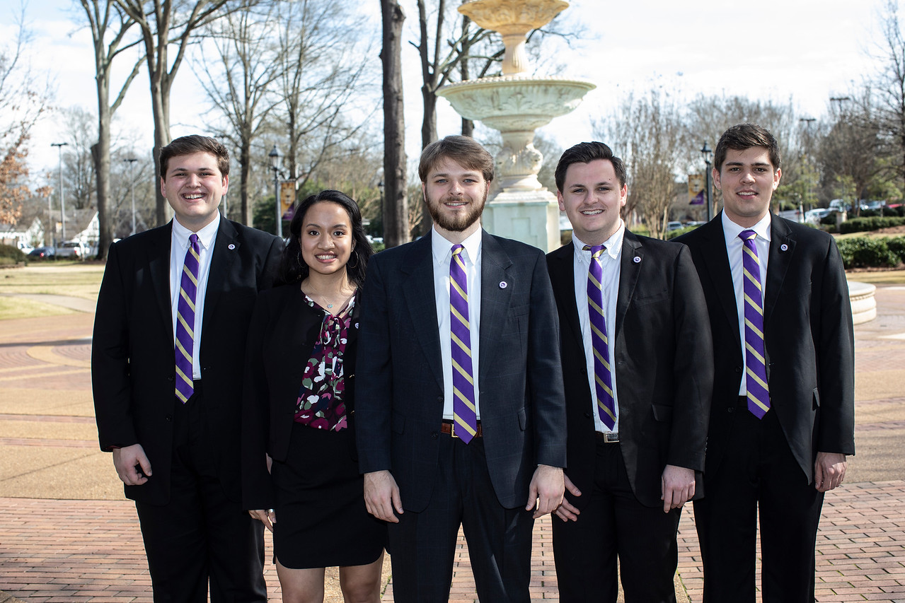 Photo of the five sga executive members standing together.