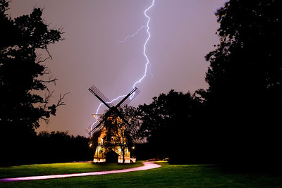 Fabyan Park Windmill and Lightning - Geneva, IL