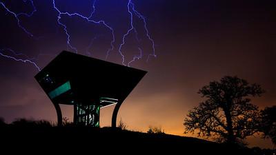 Fermilab Proton Pagoda Under Lightning; Fermilab
