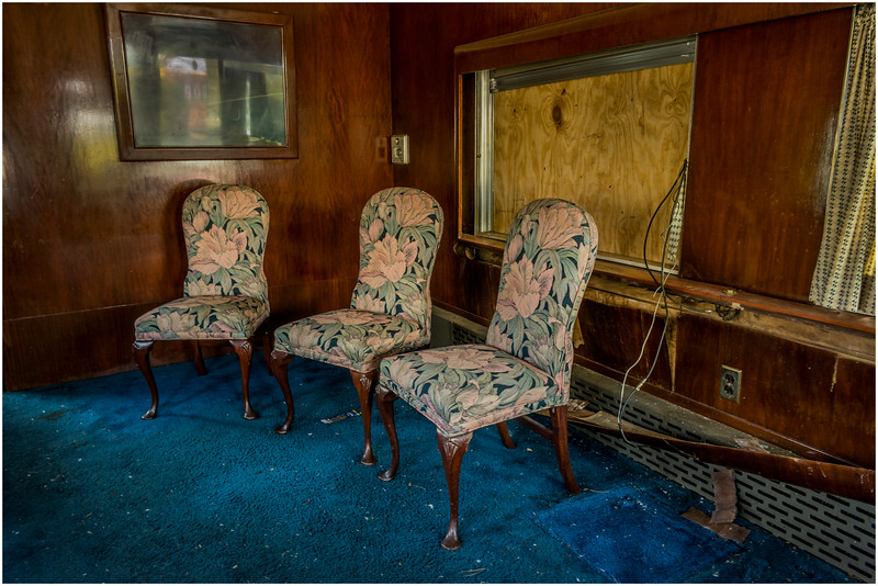 Adirondacks North Creek NY Abandoned Train 1 Sitting Room of Sleeper Car May 2016