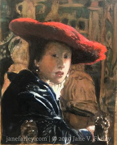 Study of Vermeer's Girl in the Red Hat (in progress)