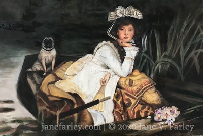 Large Study of James Tissot's  'Young Lady in a Boat'