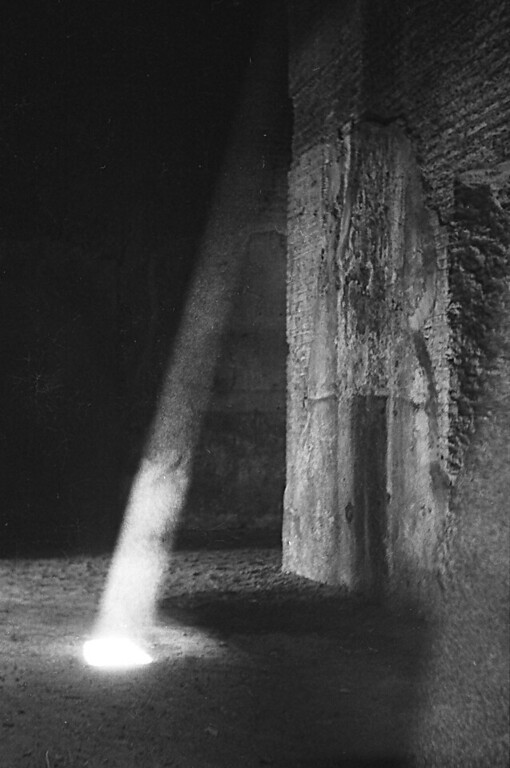 Sun shaft below the Colosseum.
