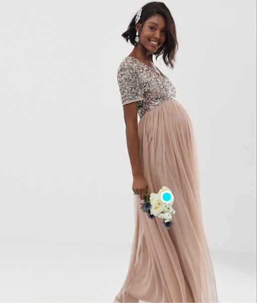 ASOS maternity v-neck maxi tulle dress with tonal delicate sequins in taupe blush. Size 10.