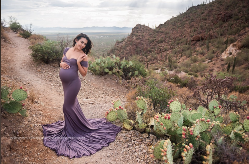 Athena Gown in Amethyst. Material: Luxe Jersey. Suggested Size: 4-12. Can be worn fitted or flowy.