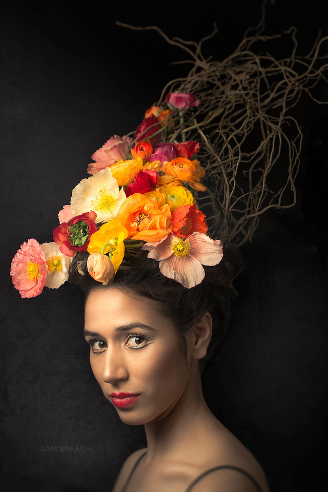 Spring Living Sculpture - By Flower Couture Photography : Sam Breach Floral design : Aya of Flower Couture Model Lissette Maravilla Makeup and stage assistant : Nana Makeup and hair : Kaoru Rothman Wardrobe : Chelsea of Anomie Hosts : The Dryansky Gallery