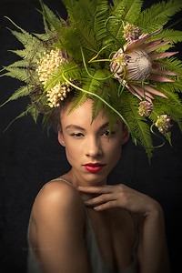 Spring Living Sculpture - By Flower Couture Photography : Sam Breach Floral design : Aya of Flower Couture Model Tiffany Marie Hill  Makeup and stage assistant : Nana Makeup and hair : Kaoru Rothman Wardrobe : Chelsea of Anomie Hosts : The Dryansky Gallery