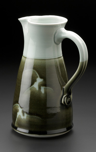 pitcher, celadon with wax resist brushwork