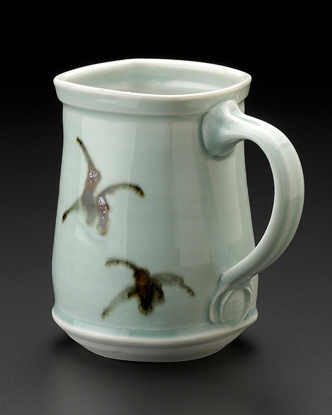 squared mug, celadon glaze with brushwork