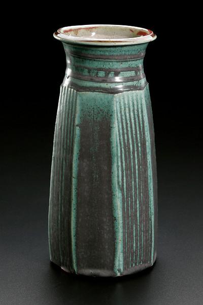 faceted vase, matt green glaze
