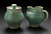 sugar and creamer, matte green glaze