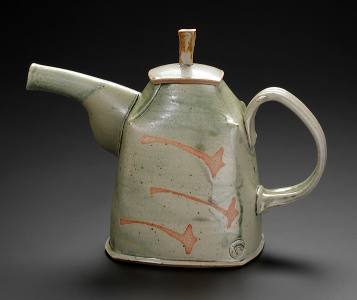 teapot, thrown and hand built, matte green glaze with wax resist