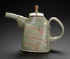 teapot, thrown and hand built, matte green glaze with wax resist