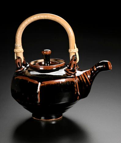 faceted teapot, temmoku glaze