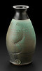 vase, matt green glaze with seashell combing