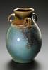 handled vase, wood fired