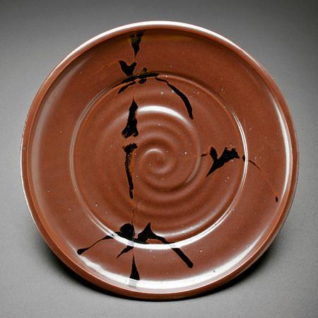 plate, khaki glaze with brushwork