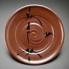 plate, khaki glaze with brushwork