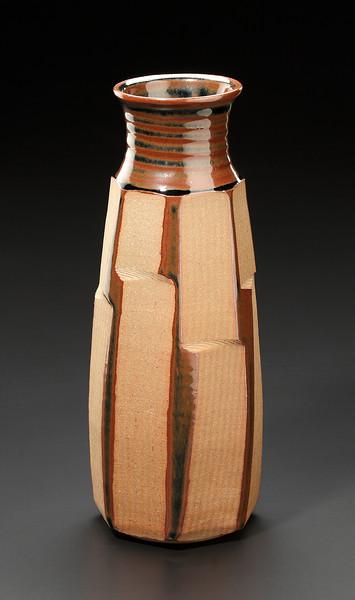 faceted vase, wax resist, tenmoku