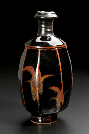 faceted bottle, temmoku glaze with brushwork